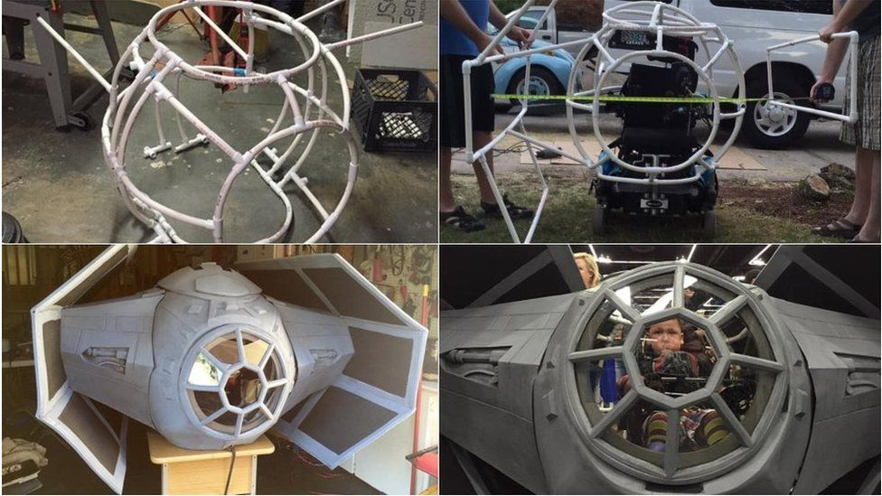 Four stages of the Tie-fighters being constructed