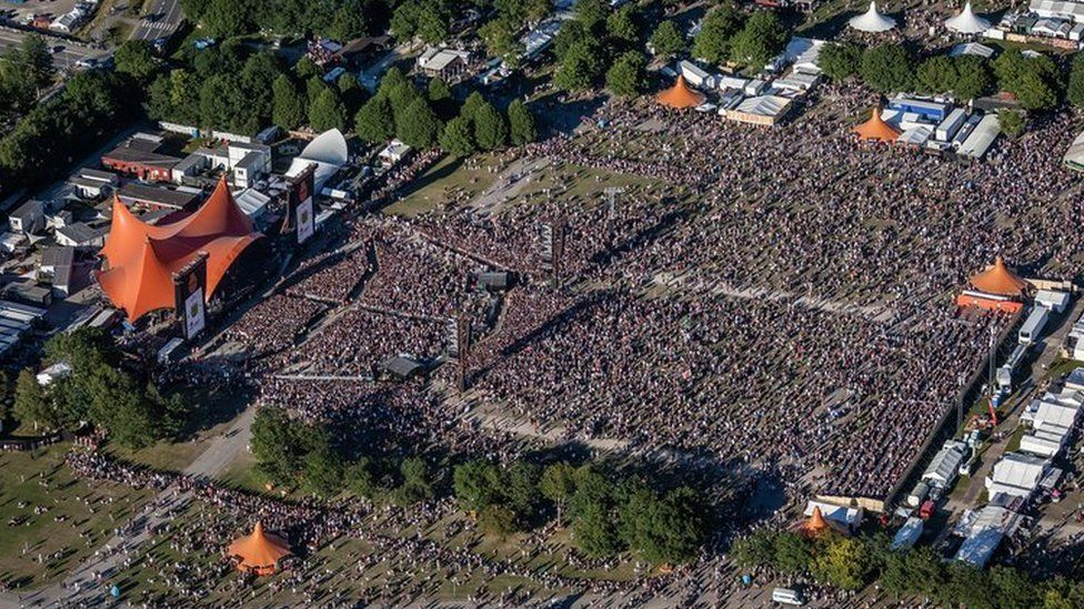 Aerial view of the crowd at Roskilde festival