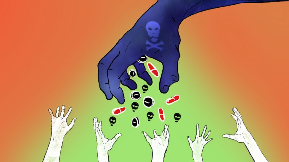 Illustrated abstract image of hand releasing fake medicines