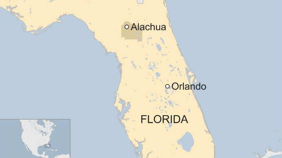 Map shows Alachua county and Orlando on a map of Florida