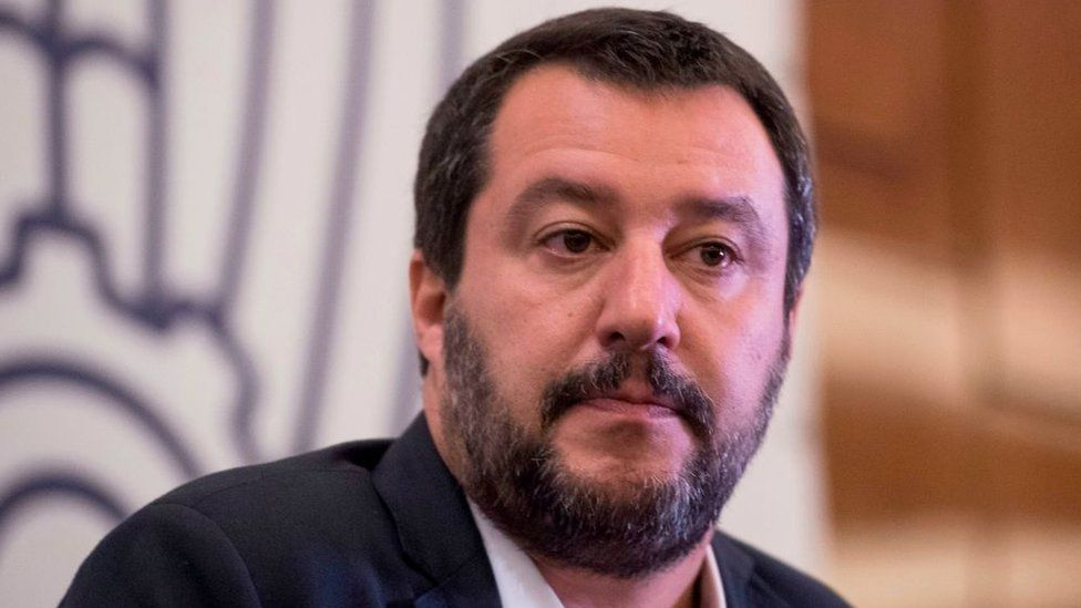 Italian Interior and Deputy Prime Minister Matteo Salvini looks on as he attends the annual meeting of Confindustria Russia, the local branch of the General Confederation of Italian Industry in Moscow on October 17, 2018