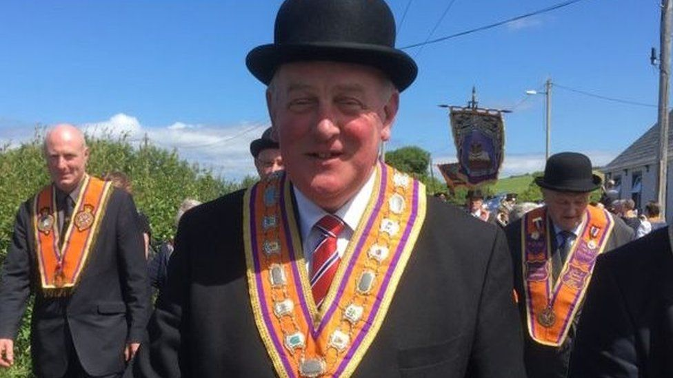 Grand Master of the Orange Order Edward Stevenson on parade at Rossnowlagh in July