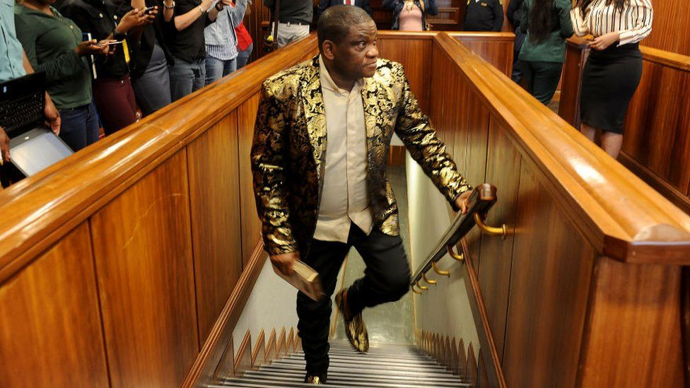 Controversial Nigerian pastor Timothy Omotoso during his appearance on charges of rape and human trafficking at the Port Elizabeth High Court on October 08, 2018 in Nelson Mandela Bay, South Africa