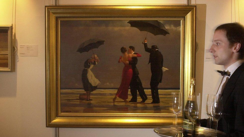 Butler Bryan Munroe walking past Jack Vettriano's 1992 painting The Singing Butler