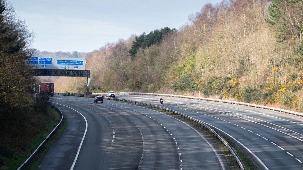 Empty M4 motorway