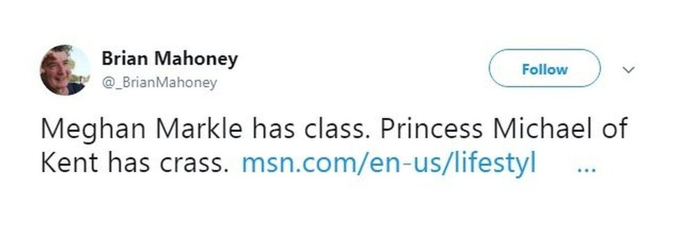 Princess Michael of Kent tweet