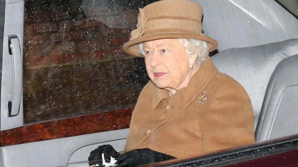 The Queen leaves a church service at Sandringham