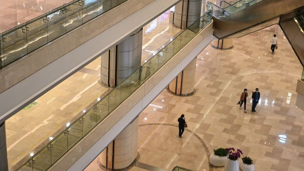 A quiet shopping mall in Wuhan in April, after many lockdown restrictions have been lifted