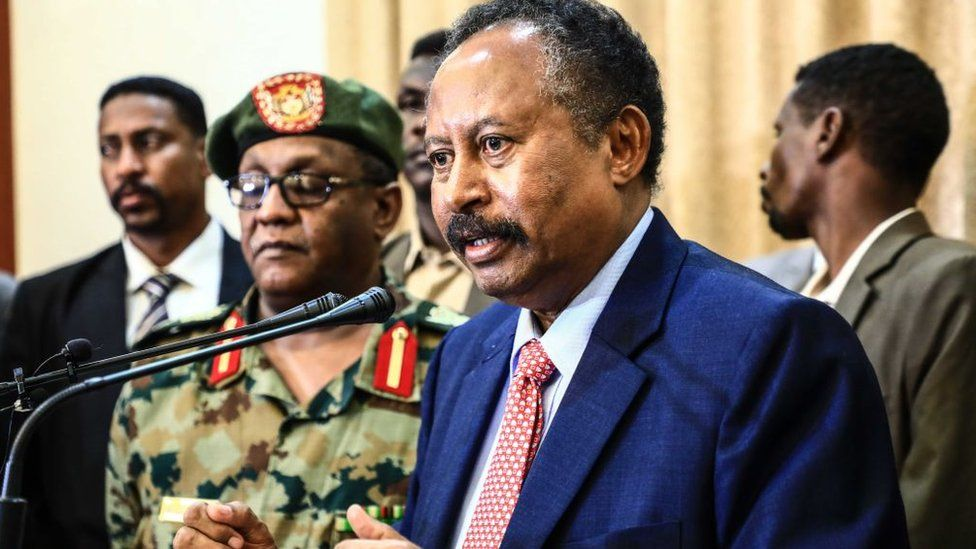 Member of Sudan's 'sovereign council' Abdullah Hamadok holds a press conference after swearing in ceremony at Presidential Palace in Khartoum, Sudan on August 21, 2019