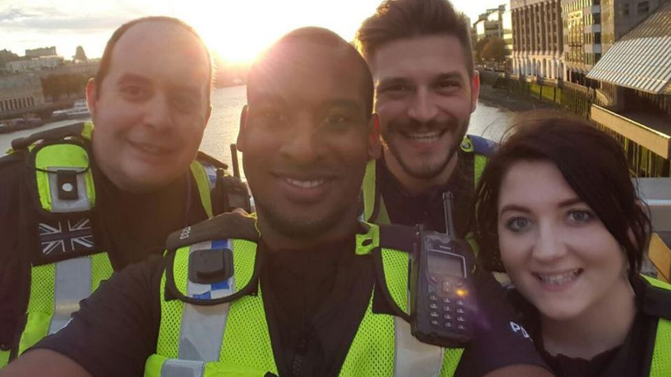 PC Marques and colleagues on London Bridge before the the attack