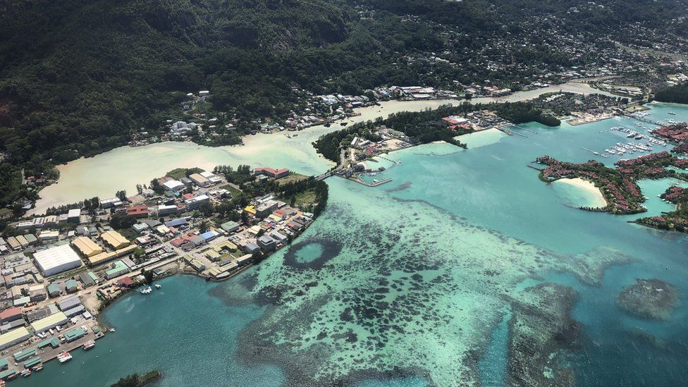 A view from an air force plane of the Seychelles