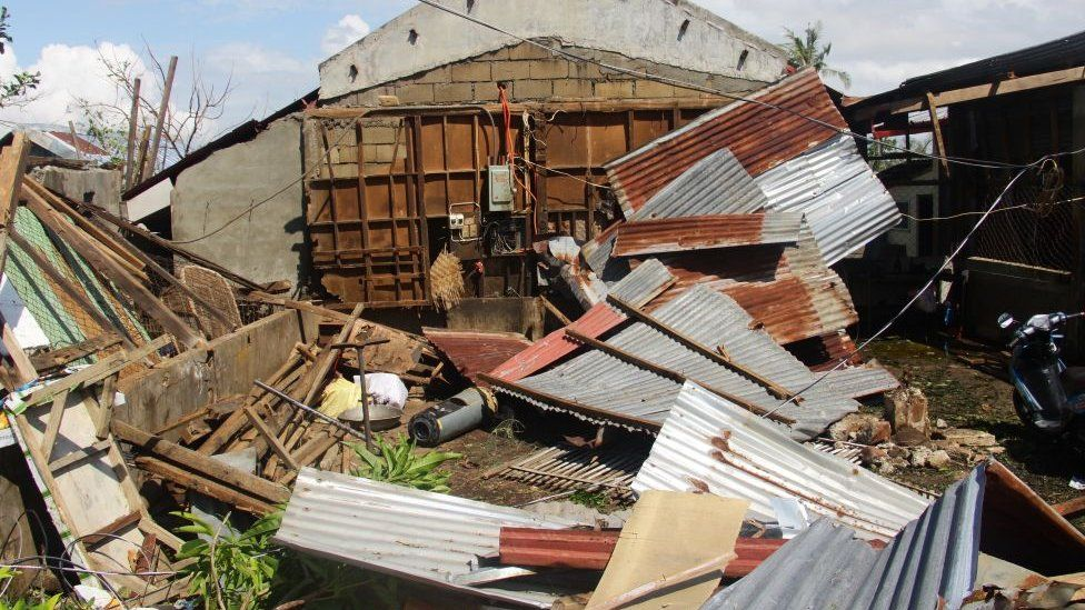 A house destroyed at the height of Typhoon Phanfone is seen in Balasan town in Iloilo province, Dec 2019