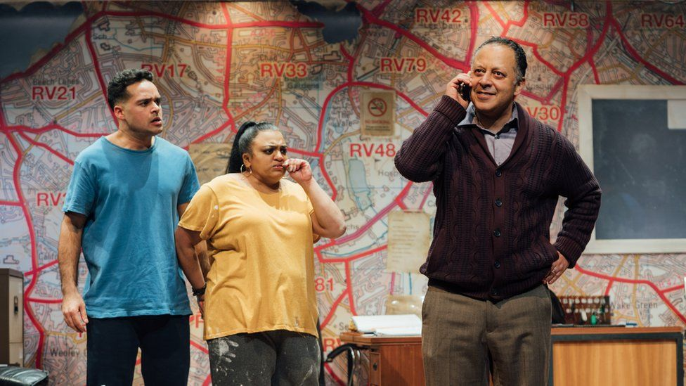 Nicholas Prasad (Shazad), Rina Fatania (Samina) and Kammy Darweish (Mansha) in Approaching Empty by Ishy Din