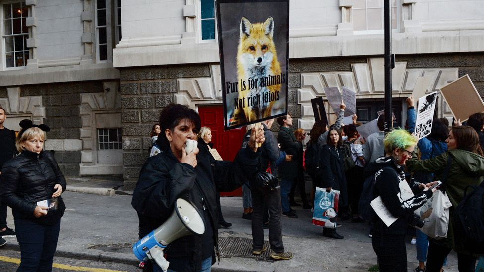 Fur protest at LFW