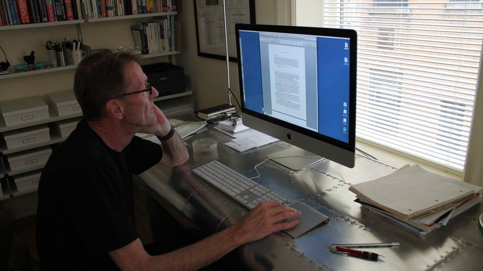 Lee Child in his New York writing room