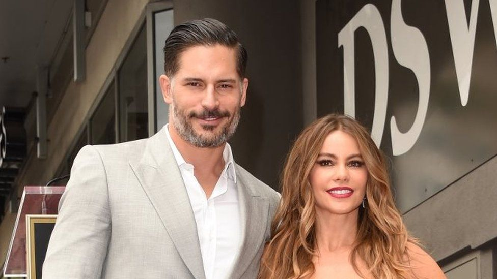 Sofia Vergara, US actress, with husband Joe Manganiello, on the Hollywood Walk of Fame, 2015