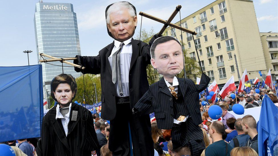 Demonstrators hold cartoons of leader of PiS (Law and Justice) party Jaroslaw Kaczynski (top), Prime minister Beata Szydlo (L) and President Andrzej Duda (R) during the Freedom March in the Polish capital Warsaw on May 6, 2017 organised by Poland's main liberal Civic Platform (PO) opposition party to protest against the rightwing nationalist Law and Justice (PiS) government over alleged rule of law violations.
