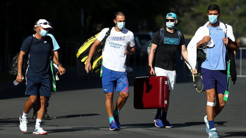 Players on non-Covid affected flights were able to leave their rooms for training sessions