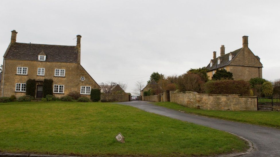 Hill Farm House, (L) Willersey, Broadway, Worcestershire, where Tini Owens, 65, lives and Manor House (R) where Hugh John Owens, 78, lives.