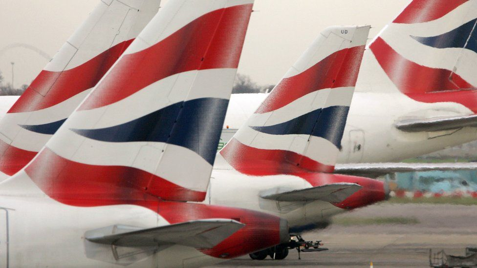 BA planes parked at Heathrow