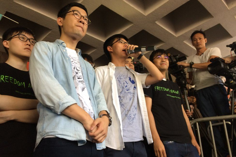 Picture of activists Nathan Law, Joshua Wong and Alex Chow in Hong Kong