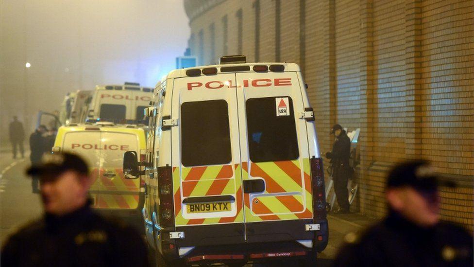 Riot police outside HMP Birmingham