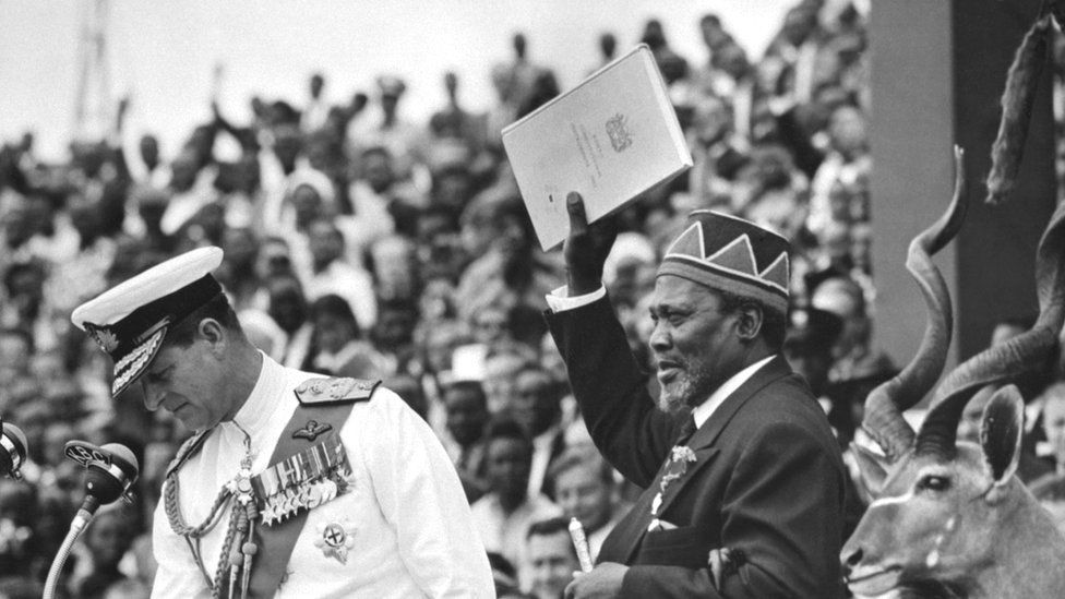 Jomo Kenyatta at his inauguration