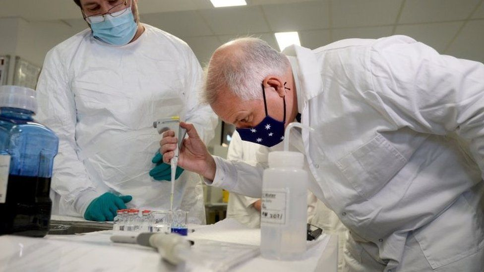 Prime Minister Scott Morrison inspects CSL's vaccine production lab in Melbourne