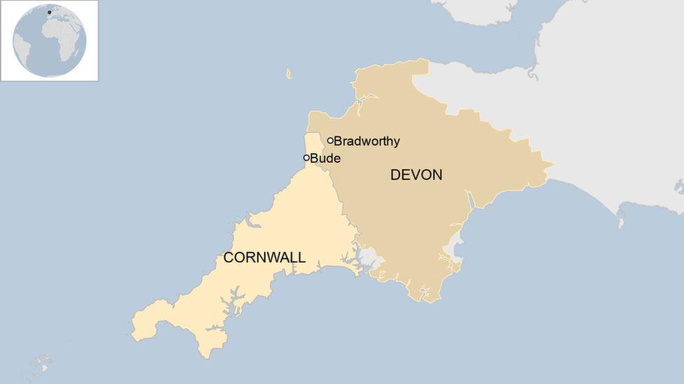 Bude in Cornwall and Bradworthy in Devon