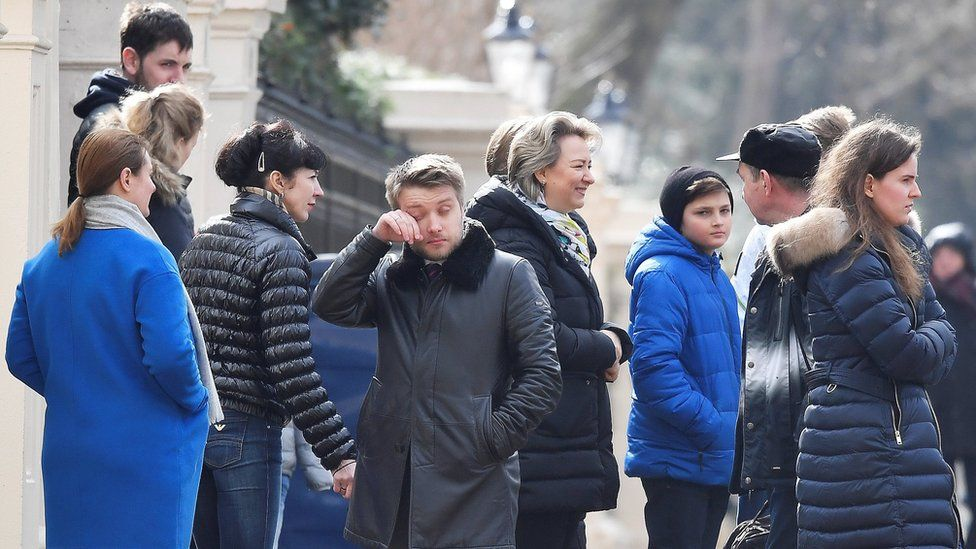 Russian diplomats being expelled from their UK embassy in March