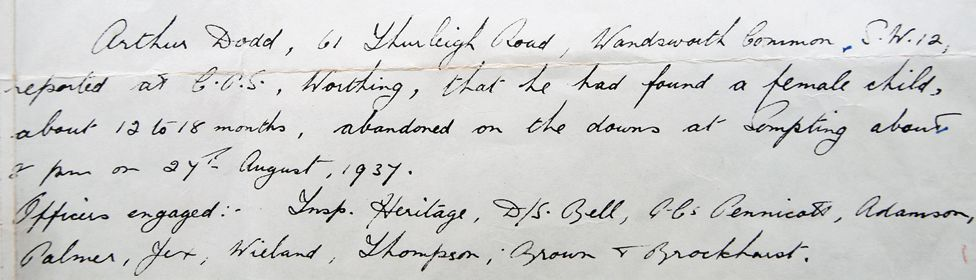 The police logbook account of Arthur Dodd's discovery of a female child