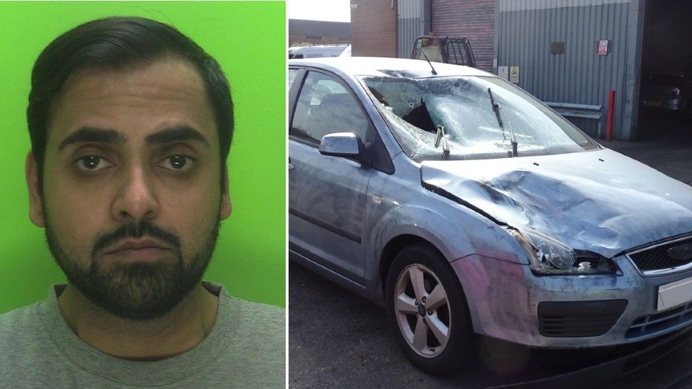 Manish Shah and his damaged car