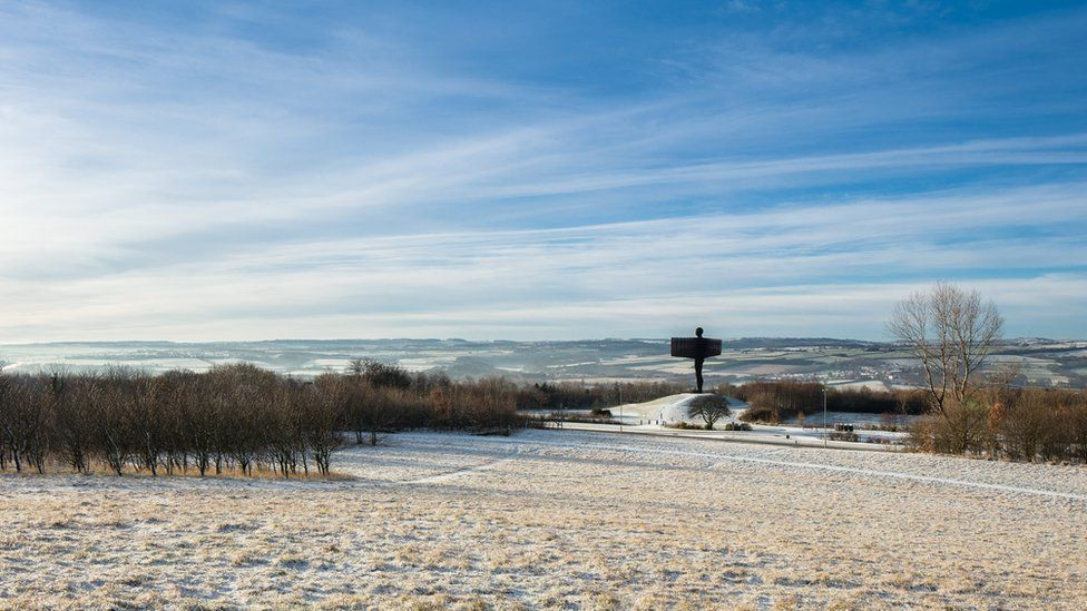 Long distance shot of the Angel of the North