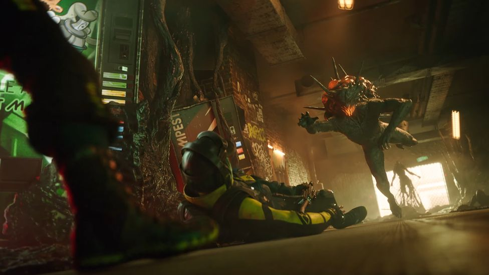 An alien creature leaps through the air towards a stricken human wearing military gear in this Rainbow Six Extraction screenshot