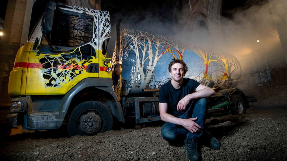 Dan Rawlings with his installation Future Returns
