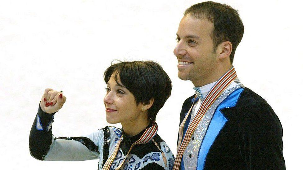 Sarah Abitbol and Stephane Bernadis after winning silver in 202