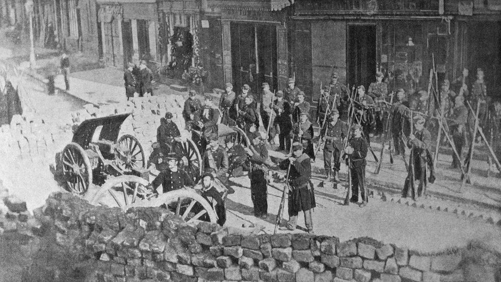 Barricade of Abesses street before the battle on May 1871 in Montmartre,Paris,France