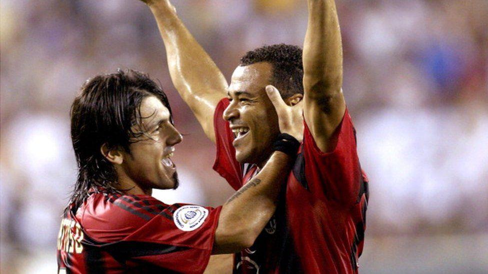 Gennaro Gattuso and Cafu celebrate a goal for AC Milan