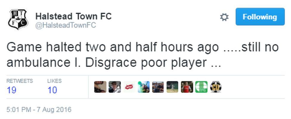 Halstead Town FC tweet
