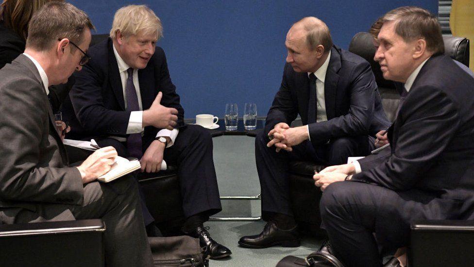 UK Prime Minister Boris Johnson and Russia President Vladimir Putin