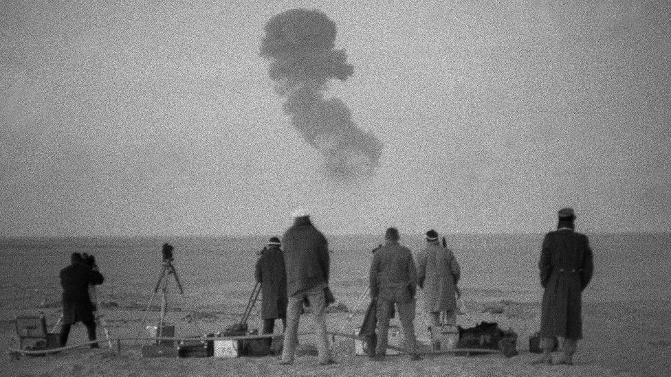 Photo taken December 25, 1961 near Reggane in southern Algeria, French nuclear tests. The first French atomic bomb was tested in Reggane