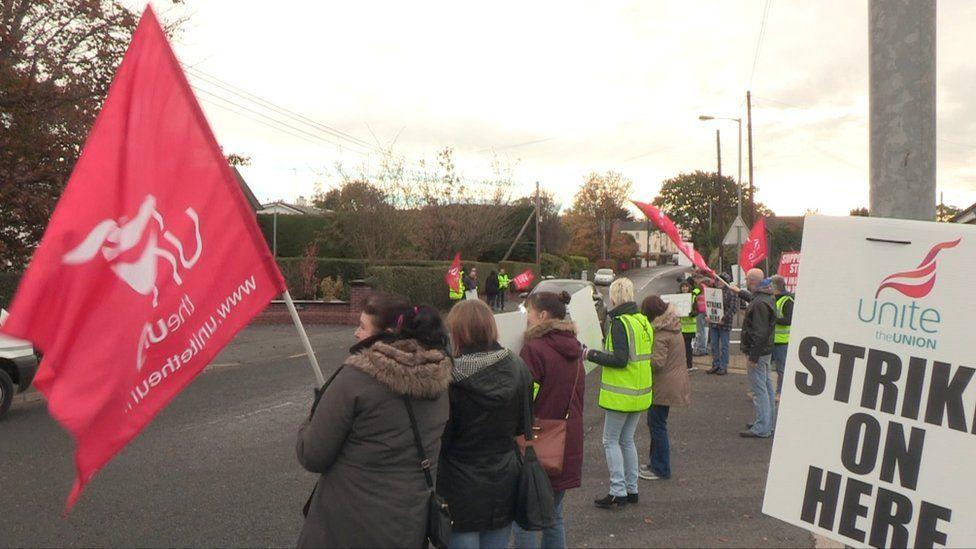 Unite union organised strike in Portadown