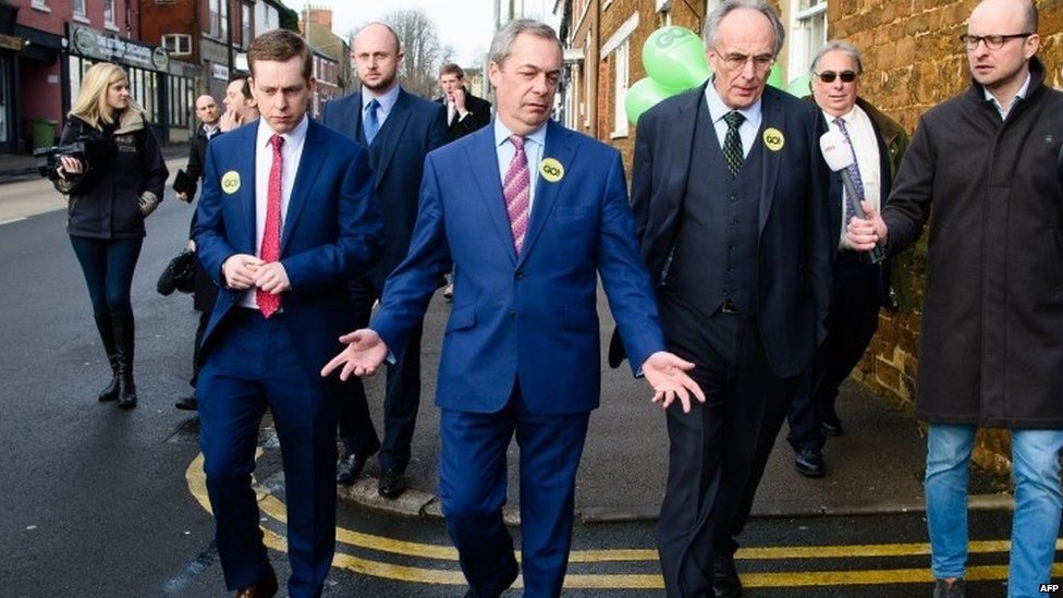 Tory MP Tom Pursglove (left), Nigel Farage (centre) and Peter Bone (right)