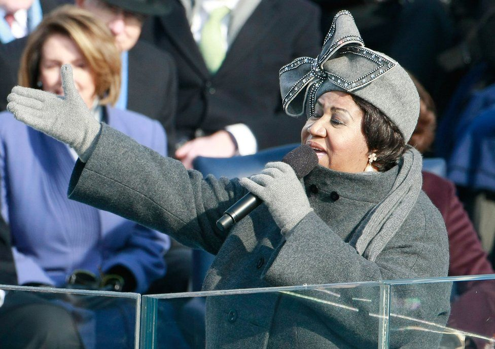 Aretha Franklin sings during the inauguration of Barack Obama as the 44th President of the United States of America, on 20 January, 2009