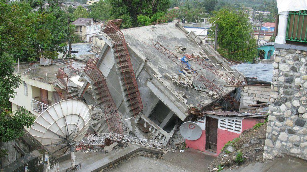 Ruin of radio station building