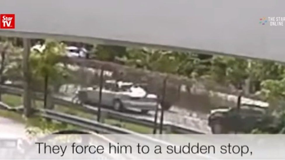 Screenshot of a CCTV clip purportedly showing the kidnapping of Malaysian pastor Raymond Koh