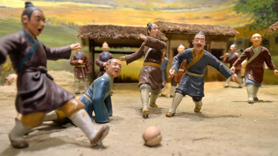 Model of a traditional cuju match at the Linzi Football Museum in China
