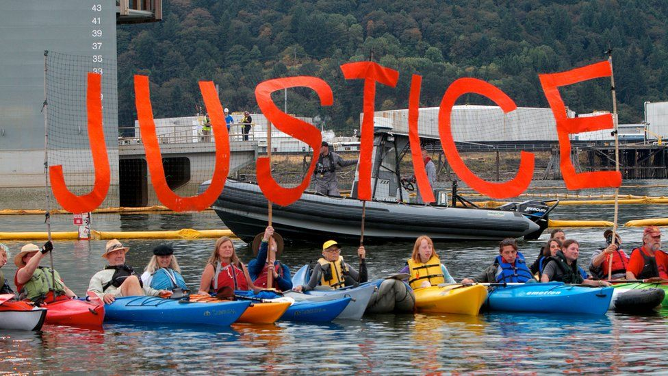 Environmental activists protest against Shell's Arctic offshore drilling project at Swan Island, Portland, Oregon. 25 July 2015
