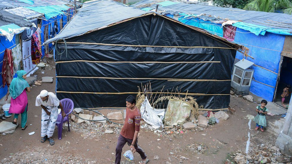 A general view shows a refugee camp set up by Rohingya Muslims in the old city of Hyderabad on June 29, 2016.