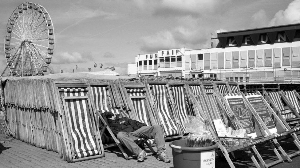 Blackpool deckchair stack at Central Pier